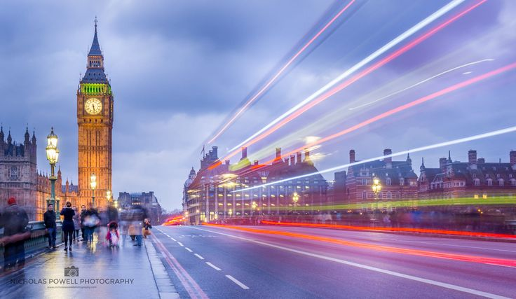 ***Big Ben and light trails (London, England) by Nick Powell