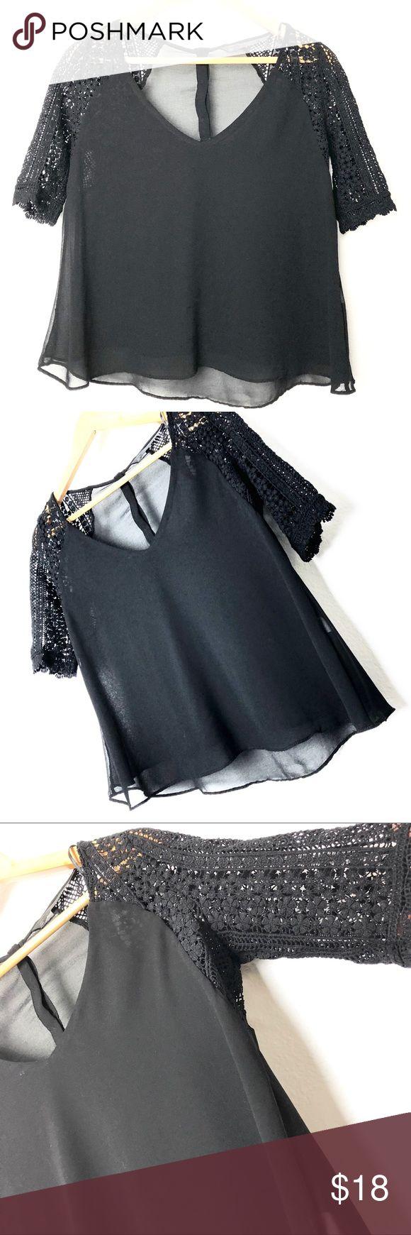 Zara Trafaluc black lace sleeves blouse