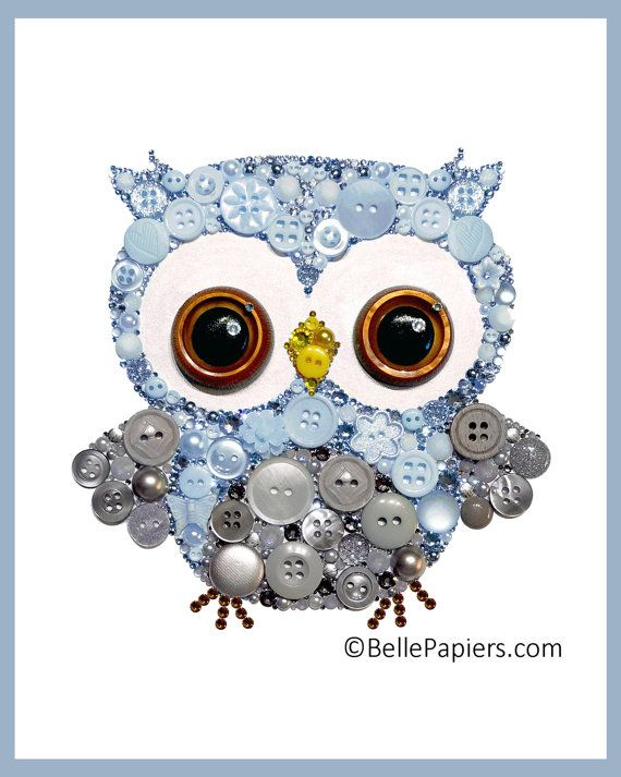 Customizable Owl Cute Nursery Owl Art Button Art by BellePapiers