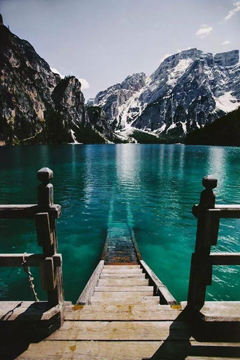 Prager Wildsee in The Prags Dolomites of South Tyrol, Italy