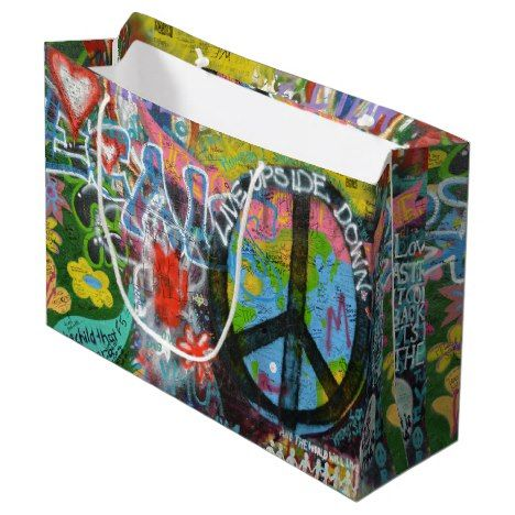 Live Upside Down Peace Sign Wall Large Gift Bag