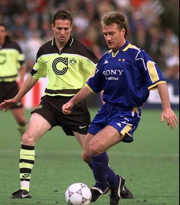 B. Dortmund 3 Juventus 1 in May 1997 in Munich. Paul Lambert tracks Didier Deschamps in the Champions League Final.