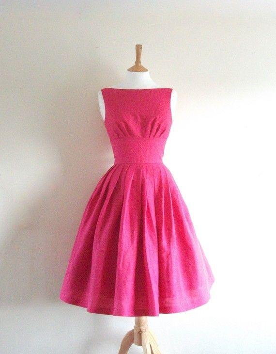 Fuchsia pink dressPink Dresses, Clothing, Bridesmaid Vintage Dresses, Pink Vintage Dress, Pink Bridesmaid Dresses, 50 Style Dresses Bridesmaid, Pink Retro, Retro Style Dresses, 50S Dresses