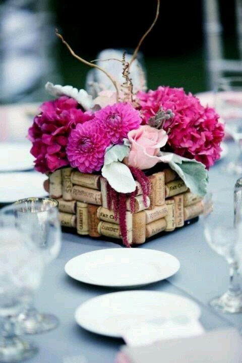 Wine cork flower vases. From Spinks wedding!