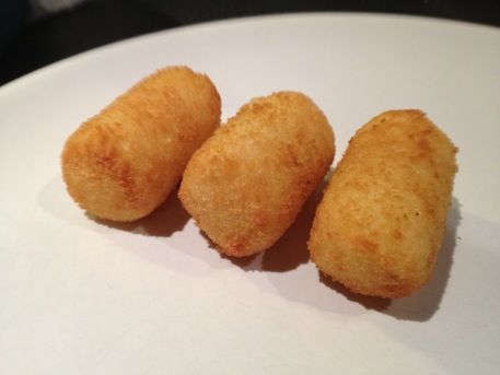 Aardappelkroketten, my most favorite Dutch food. (Kind of like tater tots, but with smooth mashed potatoes inside and a finer crumb coating.)
