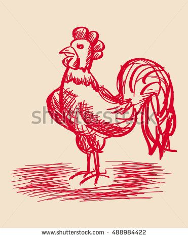 Hand-drawn rooster. Vector Illustration. Sketch.