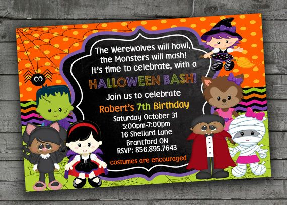 Halloween Birthday Invitations Kids by PartyPrintableInvite