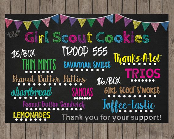 Girl Scout Cookies Sign Girl Scout Printable by RainyLainDesigns