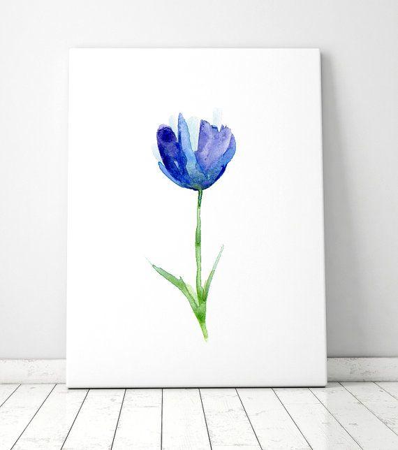 Blauwe tulp schilderij  giclee prints  aquarel tulp  door Zendrawing