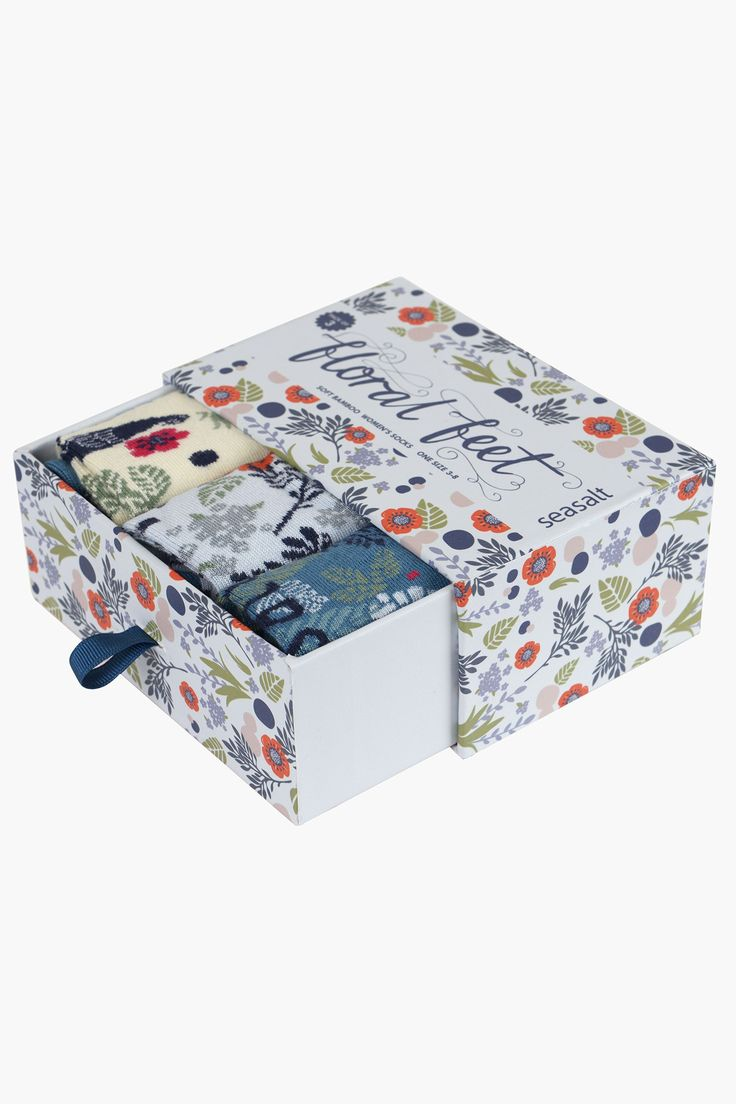 Pretty gift box of pretty Seasalt floral feet socks. Beautifully, soft bamboo socks, in colourful floral patterns. Warm in the winter, cool in the summer.