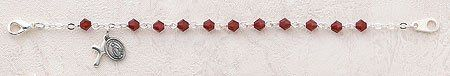"Girls Rosary Braclet, red colored (January) Birthday Bracelet, "" L, 4mm Beads, 5/16"" Cross CR001 http://www.amazon.com/dp/B007A4IXSK/ref=cm_sw_r_pi_dp_eDbdwb03PSPD1"