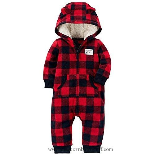 Baby Boy Clothes Carter's Baby Boys' One Piece Checker Print Fleece Jumpsuit 24 Months