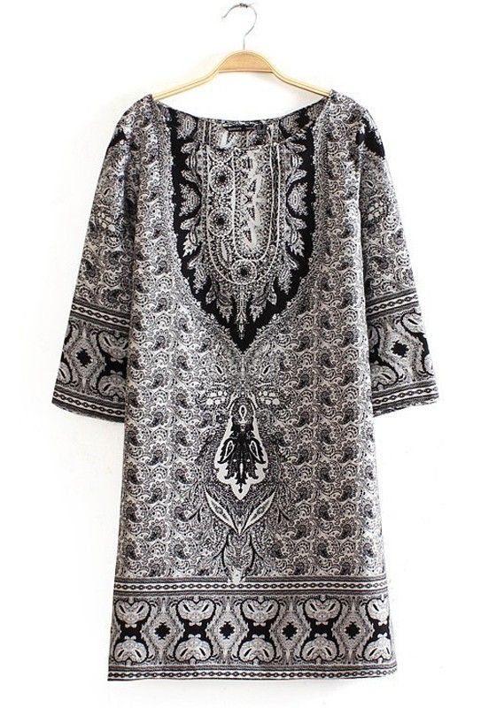 Love this print pattern! Multicolor Colorful Half Sleeve Above Knee Polyester Dress #black #grey #fashion