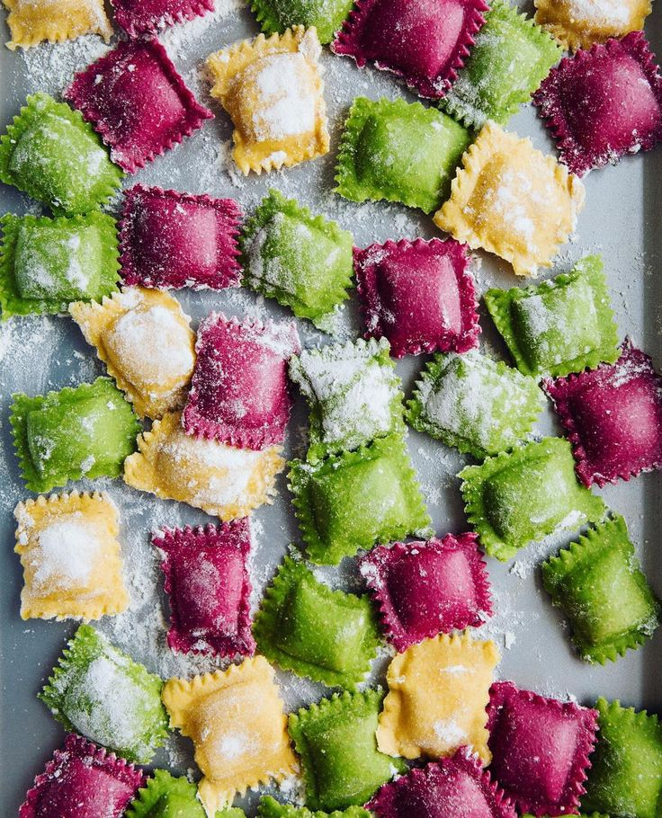 Homemade Beet, Butternut Squash, and Spinach Ravioli with Orange Butter Sauce from @Lu_Madeline