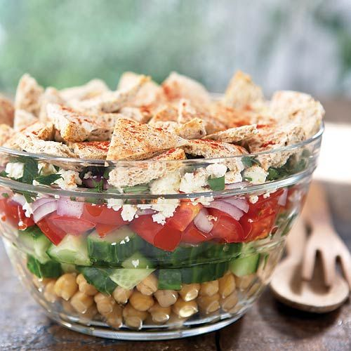 Greek Salad with a crispy baked pita topper, ready in just 15 minutes! Clean Eating http://www.cleaneatingmag.com/Recipes/Recipe/Greek-Salad-With-Baked-Pita-.aspx