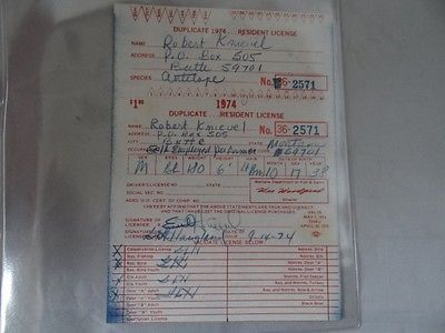 Evel Knievel's hunting license.