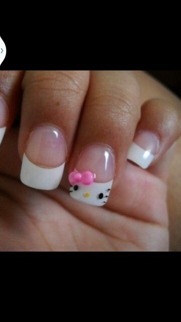 White tips with hello kitty design short length