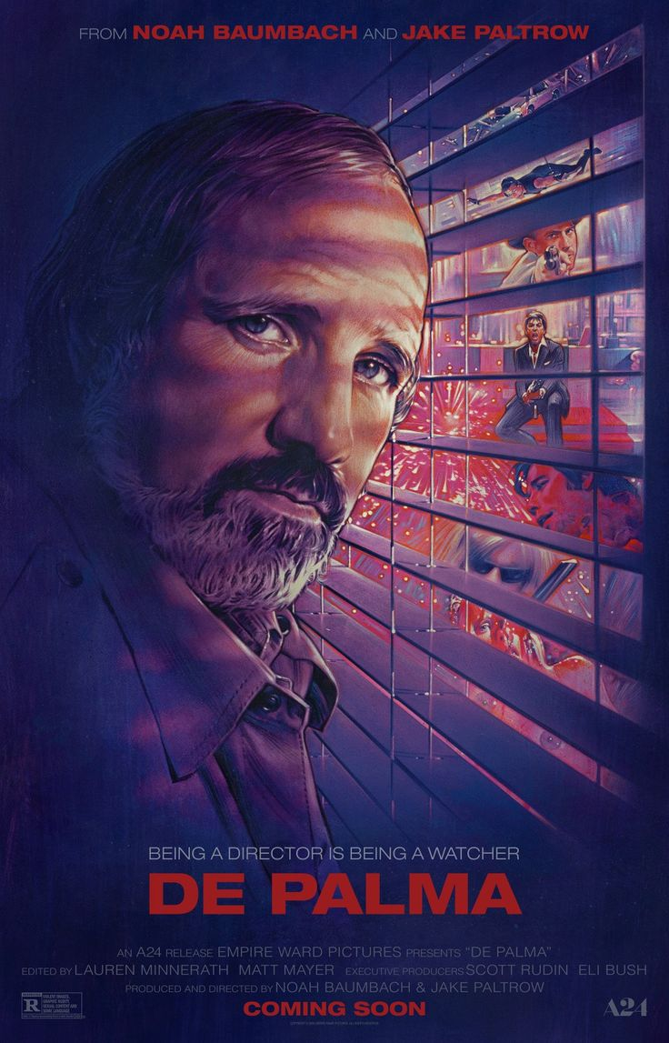 "5. ""De Palma"" BLT communications went back to the source, commissioning veteran poster illustrator Steven Chorney to put his talents to work on this fabulous image for the Jake Paltrow/Noah Baumbach documentary on Brian De Palma. With a layout that manages to cram in references to many of De Palma's biggest hits, and also suggests …"