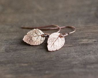 Tiny Rose Gold Leaf Earrings - Woodland Jewelry Leaves- Rose Gold Vermeil and Rose Gold Filled