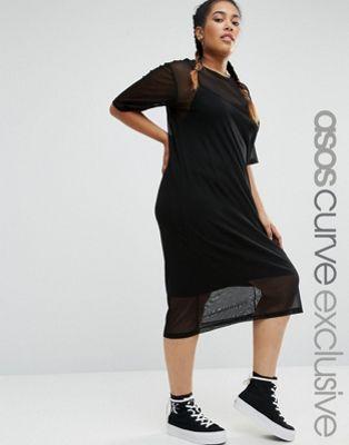 ASOS CURVE – Netz-T-Shirt-Kleid mit Träger-Unterkleid