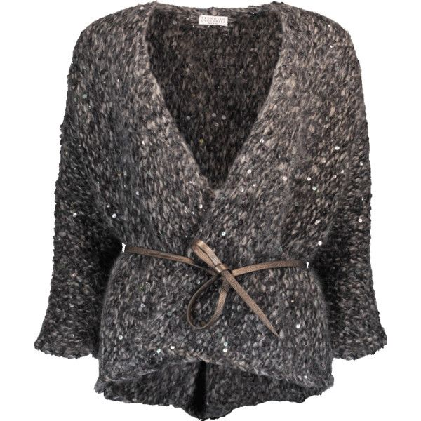 Brunello Cucinelli Paillette Knit Cardigan ($2,995) ❤ liked on Polyvore featuring tops, cardigans, long knit cardigan, grey knit cardigan, v-neck cardigan, knit cardigan and long tops