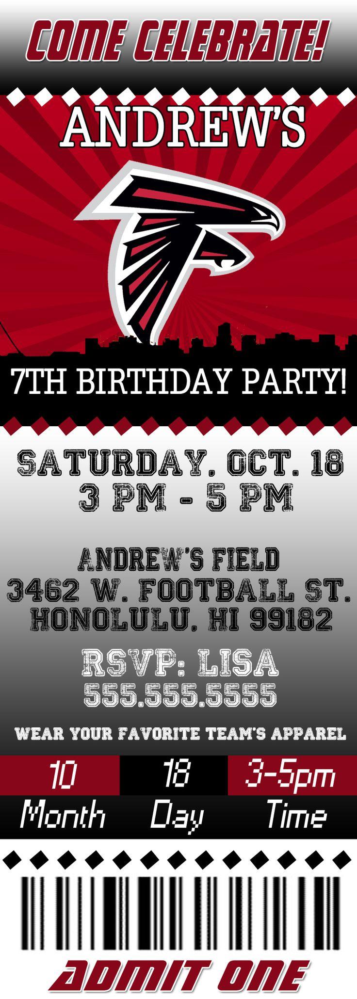 NFL Atlanta Falcons Ticket Birthday Invitation