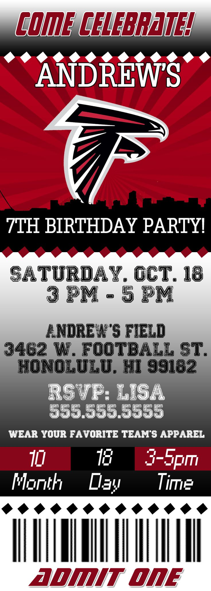 NFL Atlanta Falcons Ticket Birthday Invitation
