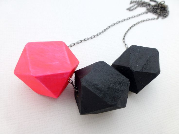 Neon Sunset Geometric Bead Necklace - Neon Pink and Black - Whimsy & Grace