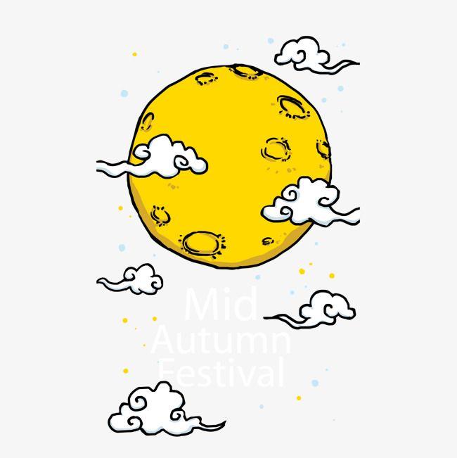 Cartoon Hand Painted Full Moon Vector Moon Vector Hand Painted Full Moon