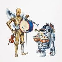 John Alvin, a movie poster master, gave Threepio and Artoo a musical makeover for this 1978 Star Wars in Concert promotional poster.