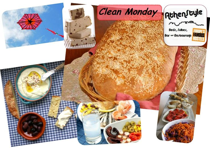 """Clean Monday is a public holiday in Greece which indicates the end of the carnival. It is usually celebrated with outdoor excursions and the widespread custom of flying kites. On this day we only consume shellfish and other fasting food, for example a special kind of  azyme bread, baked only on that day, called """"lagana"""", as well as  halva, fish roe and anything oil-free."""
