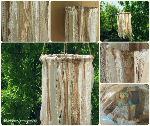 Burlap jute lace hanging fabric chandelier. Kinda want to make this to hang in my tent for craft shows actually... Haha