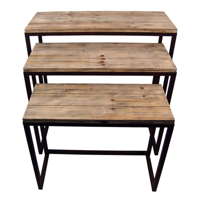 Great nest tables for a rustic look 3 piece rockbridge end for Rustic industrial end table