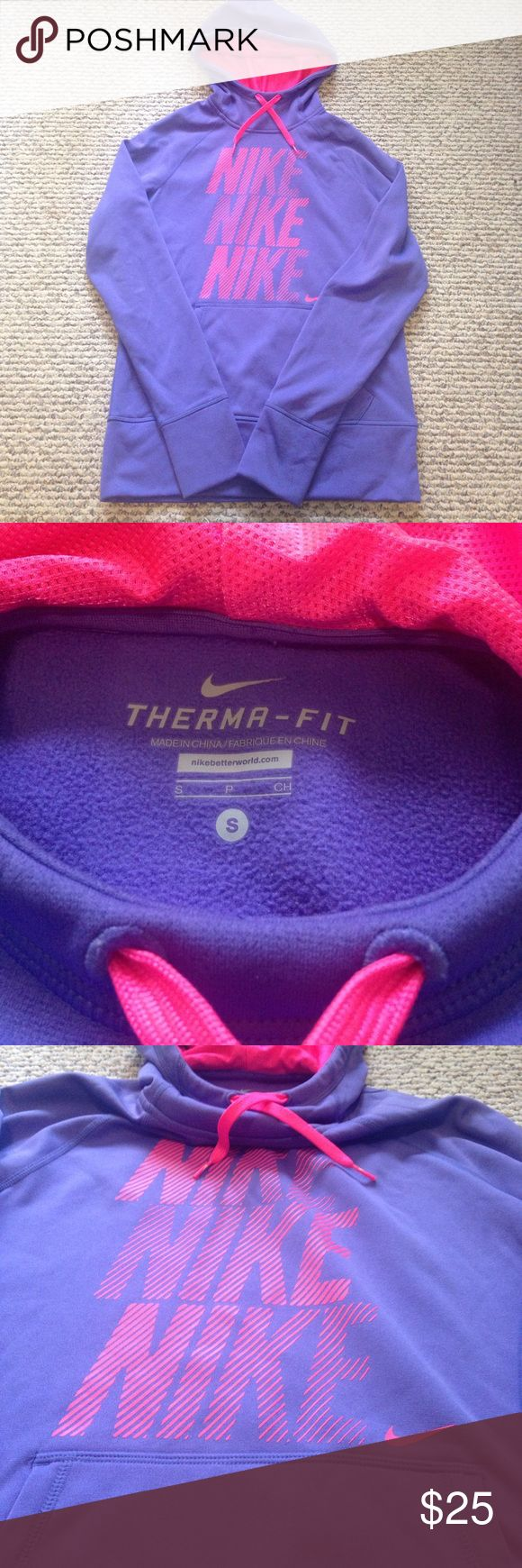 Nike hoodie (women's) Pink and light purple women's Therma fit Nike hoodie size small. Has holes for your fingers and is in excellent gently used condition! Nike Tops Sweatshirts & Hoodies