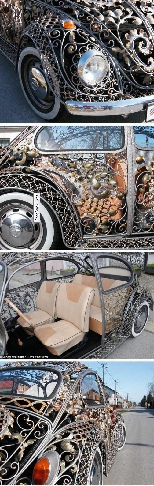 Wrought-iron Bug Carriage! That's what name comes to mind. Lol