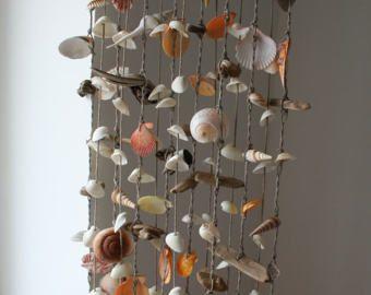 Mar Driftwood grande cáscara móvil, carillón de viento de la playa, campana de concha de mar, conchas de mar decoración