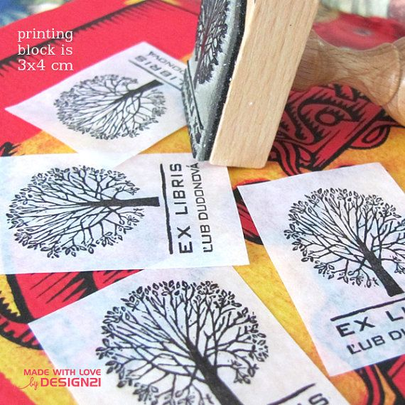 Personalised rubber stamp EX LIBRIS with original linocut design. Each rubber stamp will be with the name of the owner, of course – just send me the name,