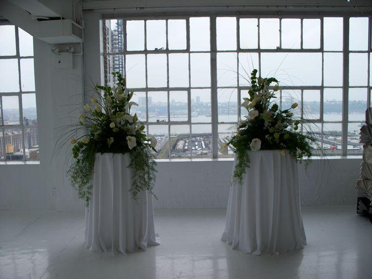 Wedding Ceremony Flowers   Pre-setup of NYC loft wedding   Arrangements of calla lilies, french tulips, bells of Ireland   Westchester New York   Bedford Village Florist