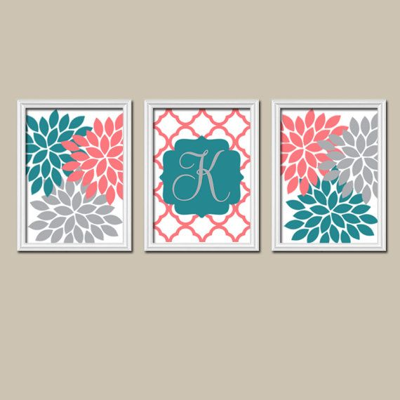 Teal Coral Gray Nursery CANVAS or Prints Monogram by TRMdesign