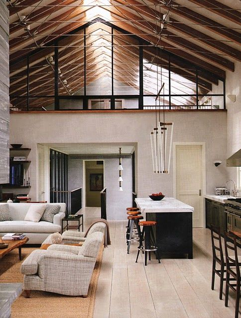 Barn-style house. Love the openness of the space and the high a fame ceilings