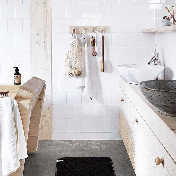 NEW IN STORE - Iris Hantverk  Shop now | tap link in bio | http://ift.tt/1NPADcz  Handmade brushes by visually impaired craftsmen using an old Swedish tradition. They create high quality products with a timeless Scandinavian design for the kitchen bathroom and general household cleaning.  Also available is this wooden rack with 4 hooks for simple stylish storage.  Pic via @irishantverk