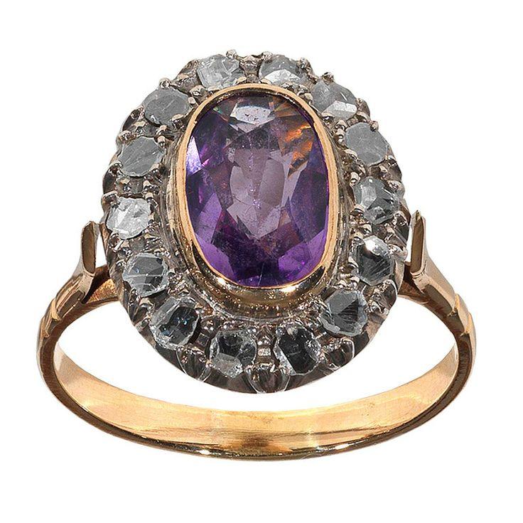 Rose Gold Amethyst Ring Trillion Diamond Classic Jewelry Jewelry Ideas
