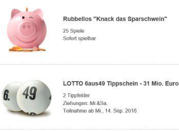 Zwangs-Ausschüttung: Lotto-Jackpot mit Schnäppchen-Schein & Rubbel-Losen https://www.discountfan.de/artikel/c_gratis-angebot/zwangs-ausschuettung-lotto-jackpot-mit-schnaeppchen-schein-rubbel-losen.php Am Mittwoch ist es soweit: Dann kommt es zur Zwangs-Ausschüttung des Lotto-Jackpot, der in zwölf Ziehungen hintereinander nicht geknackt wurde. Discountfans können zwei Felder zum Schnäppchenpreis von zusammen 99 Cent spielen und erhalten obendrein 25 Rubellose geschenkt