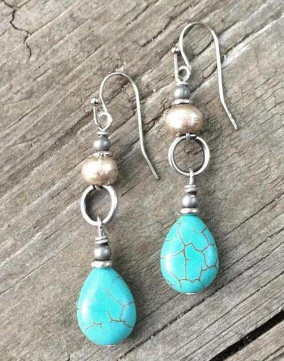 Turquoise Vintage Silver Drop Earrings Tribal Earrings Boho