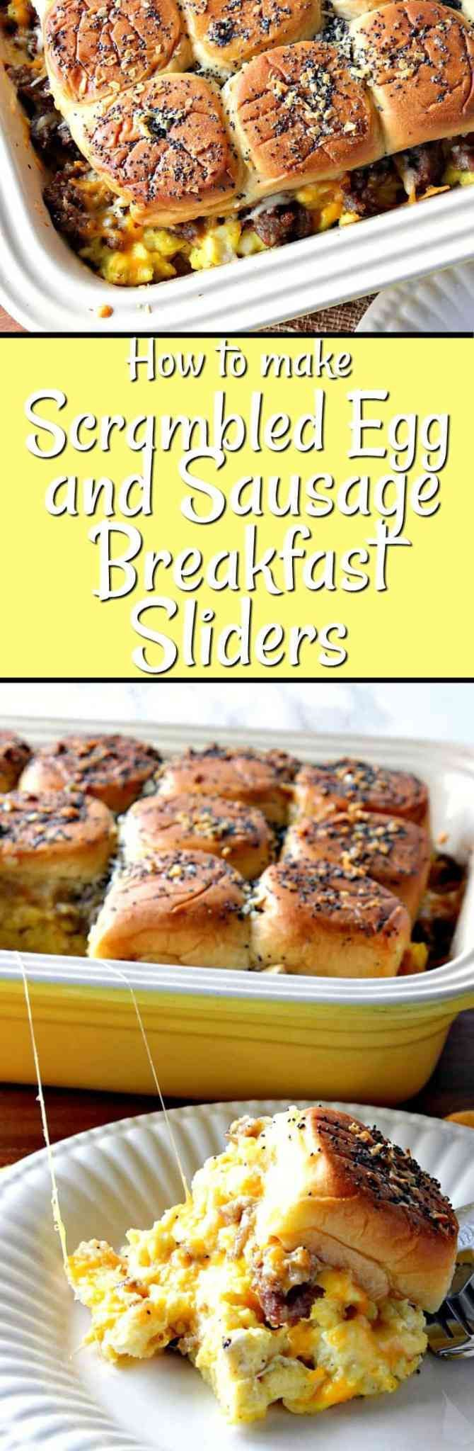 Scrambled Egg & Sausage Breakfast Slider Long Collage Images | Kudos Kitchen by Renee