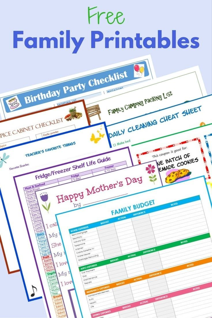 These free family printables make it easy to manage everything from birthday parties to camping trips and everything in between.