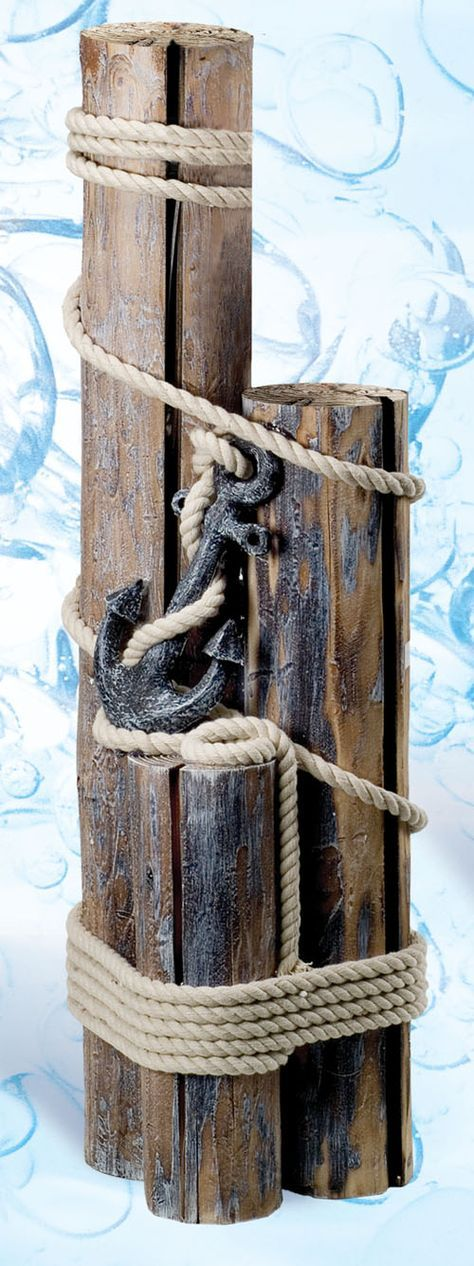 """Wood Piling 30"""" Decorative With Rope and Anchor"""