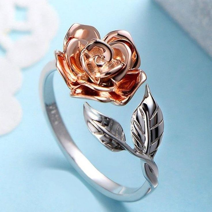 Delicate Rose Flower Leaves Ring, Rose Gold Color, Adjustable Jewelry