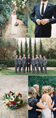 Dark Grey Suit for the Groom and Light Grey Suit for the Groomsmen