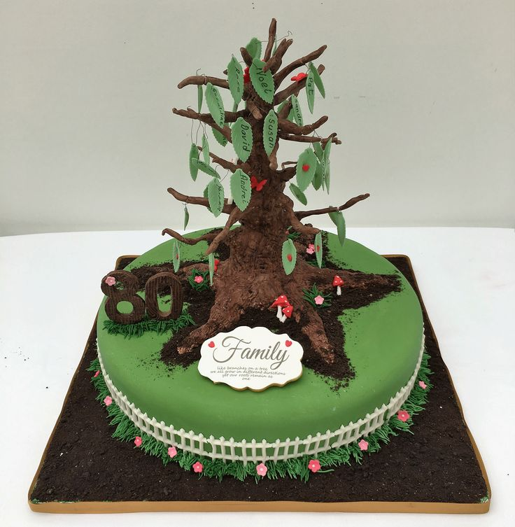 Family Tree Cake, with family members names on each leaf.